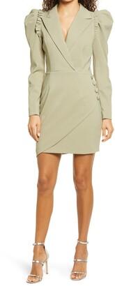 Lavish Alice Frill Detail Long Puff Sleeve Blazer Dress