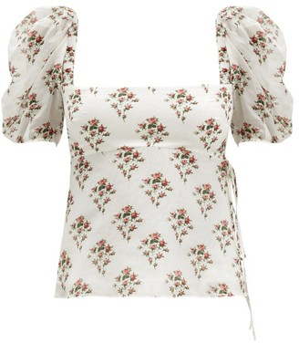 Brock Collection Puff-sleeve Floral Cotton-blend Top - White Print