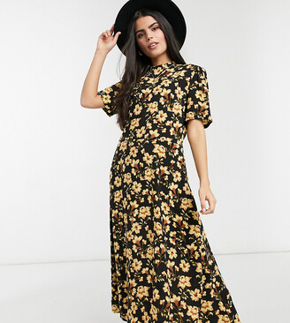 Vila Petite midi dress with short sleeves in yellow floral print