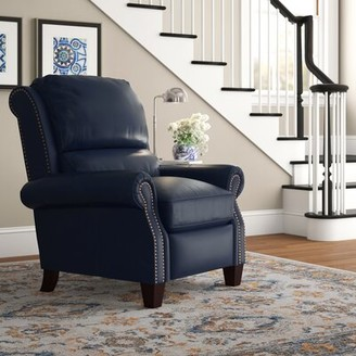 Three Posts Tavon Leather Manual Recliner Upholstery Color: Shoreham Blue Genuine Leather