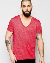 Hilfiger Denim T-shirt In V Neck In Twisted Yarn