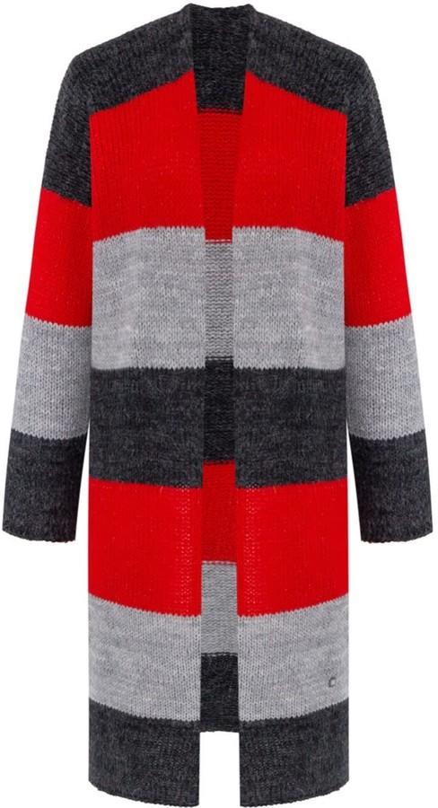 You By Tokarska Cuddly Long Striped Cardigan Red Grey