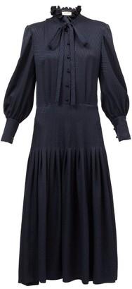 Saint Laurent Pussy-bow Houndstooth-jacquard Shirt Dress - Navy