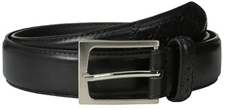Florsheim Full Grain Leather Belt with Wing Tip Style Tail 32mm (Black) Men's Belts