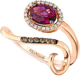 LeVian Le Vian 14K Rose Gold 0.99 Ct. Tw. Diamond & Rhodolite Ring