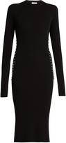 Thierry Mugler Ring-embellished long-sleeved ribbed-knit dress