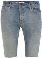 Topman Light Wash Stretch Skinny Denim Shorts