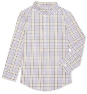 Wonder Nation Boys 4-16 & Husky Long Sleeve Button Down Plaid Shirt