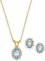 Aqua Topaz (2 ct. t.w.) and Diamond Accent Jewelry Set in 18k Gold over Sterling Silver