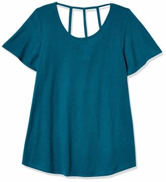 Star Vixen Women's Short Sleeve Bestselling Cage-Back Cutout Sweater Knit Top