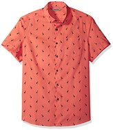Kenneth Cole Reaction Men's Short Sleeve Button Down Collar Bird Print
