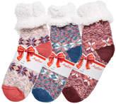 Angelina Women's Socks AB - Red & Blue Fair Isle Sherpa-Lined Three-Pair Crew Socks Set - Women