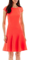 Studio 1 Cap-Sleeve Fit-and-Flare Dress