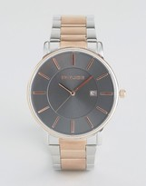 Police London Watch Silver And Rose Gold Strap With Brown Dial
