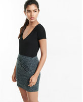 Express space dye knitted front mini skirt