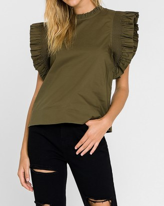 Express English Factory Ruffle Sleeve Poplin Top
