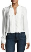 Frame Pleated Split-Neck Silk Blouse, Blanc