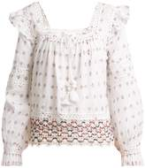 Sea Colette lace-trimmed embroidered cotton top