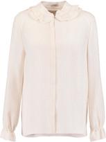 Vilshenko Frilled silk-jacquard blouse