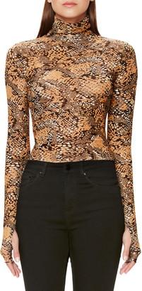 AFRM Jordan Leopard Print Long Sleeve Crop Top
