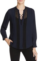 Rebecca Taylor Silk Georgette Lace-Up Blouse