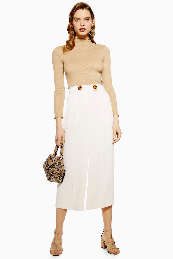 Topshop Womens Cropped Wide Leg Trousers - Ivory