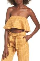 Faithfull The Brand Solana Stripe Strapless Linen Crop Top