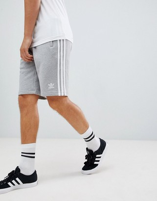 adidas 3 Stripe Shorts in gray