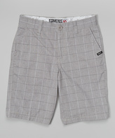 Micros Dark Gray Plaid Shorts - Boys