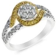 Effy Diamond 14K White And Yellow Gold Ring, 0.74 TCW