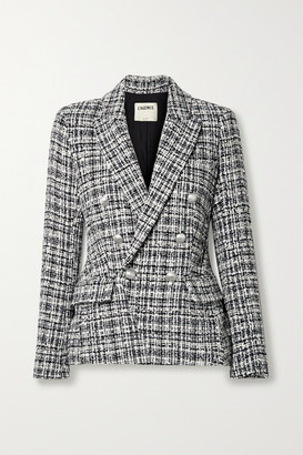 L'Agence Kenzie Double-breasted Metallic Cotton-blend Tweed Blazer - Black