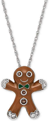 """Richline Jewelry Smoky Quartz (5/8 ct. t.w.) & Lab-Created White Sapphire Accent Gingerbread Man 18"""" Pendant Necklace in Sterling Silver"""