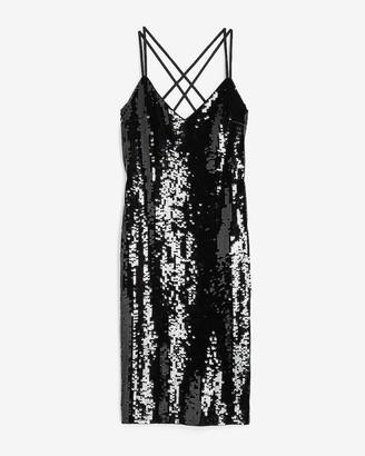 Express Sequin Cross Back Slip Dress
