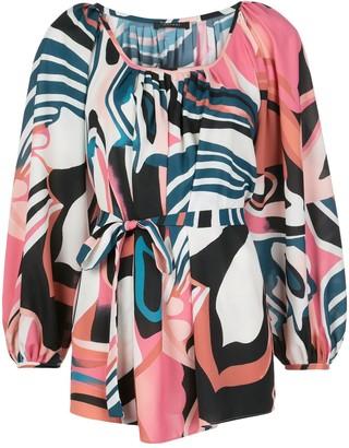 Natori Abstract Print Tie-Waist Blouse
