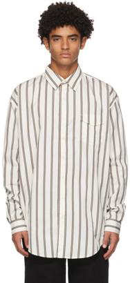 Schnaydermans White and Khaki Striped Oversize Shirt