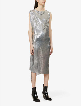 Paco Rabanne Draped chainmail midi dress