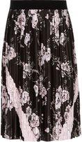 River Island Girls black pleated floral midi skirt