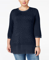 Belldini Plus Size Stud-Embellished Chiffon-Hem Top