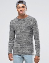 !solid Knitted Jumper In Mixed Yarns