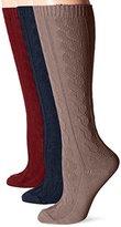 Muk Luks Women's Microfiber Knee High Socks 3-Pack