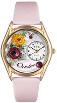 Whimsical Watches Women's C0910010 Classic Gold Birthstone: October Pink Leather And Goldtone Watch