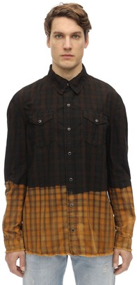 B Used Bleach Dipped Cotton Plaid Shirt