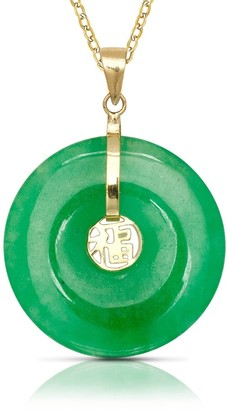 Curata 14k Yellow Gold 16-inch Green Jade Circle Pendant Necklace
