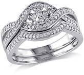 10K White Gold 0.32ctw Diamond Engagement Ring and Wedding Band 2-piece Bridal Set