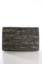 Deepa Gurnani Black Leather Sequin Beaded Detail Magnet Closure Clutch Handbag
