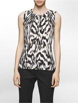 Calvin Klein Animal Pleat Neck Sleeveless Top
