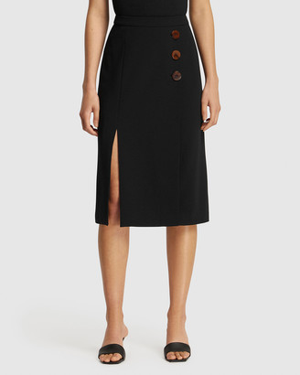 FRIEND of AUDREY - Women's Black Pencil skirts - Poppy Resin Buttoned Split Skirt - Size One Size, 6 at The Iconic