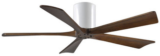"Matthews Fan Irene-H 5 Blade Paddle Ceiling Fan w/ Walnut Tone Blades, 52"", Gloss W"