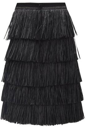 Sara Lanzi Tiered Raffia Skirt - Black