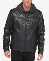 Levi's Men's L27 Faux Leather Trucker Jacket with Bib & Hood
